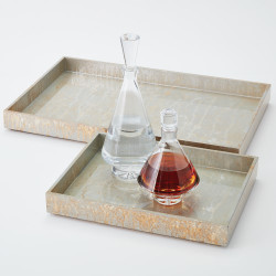 Champagne Silver Leaf Rectangle Tray - Sm
