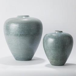 Check Bulbous Vase - Reactive Silver Blue - Lg
