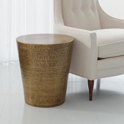 Izmir Hammered Side Table - Antique Brass