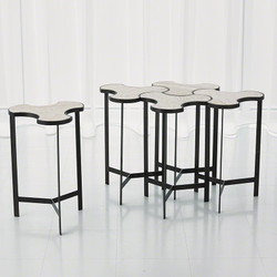 Link Bunching Table - Natural Iron w/Travertine Top