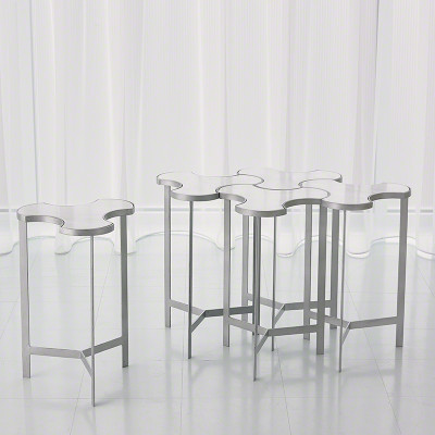 Link Bunching Table - Silver w/White Marble Top