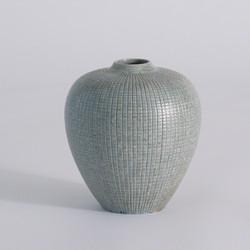 Mini Check Bulbous Vase - Reactive Silver Blue