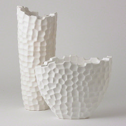 Random Grid Vase - Matte White - Tall