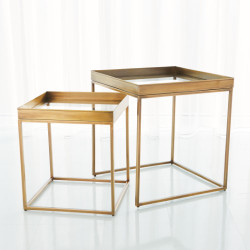 S/2 Perfect Nesting Tables - Antique Brass