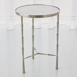 Spike Accent Table - Antique Nickel w/White Marble Top