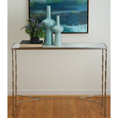 Spike Console - Antique Nickel w/White Marble