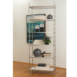 Spike Etagere - Antique Nickel w/White Marble