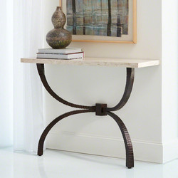 Teton Console - Bronze w/Travertine Top