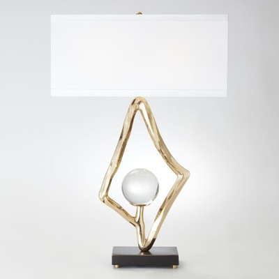 "Abstract Lamp w/6"" Crystal Sphere - Brass"