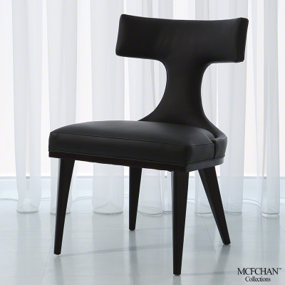 Anvil Back Dining Chair - Black Leather