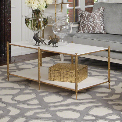 Arbor Cocktail Table - Brass & White Marble
