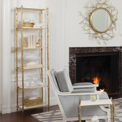 Arbor Etagere - Brass & White Marble