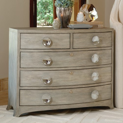 Bow Front 5 Drawer Dresser - Grey