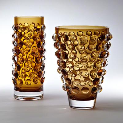 Bubble Cylinder Vase - Amber