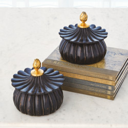 Carved Lotus Box - Black Antique