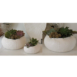 Ceramic Urchin Bowl - Matte White - Lg