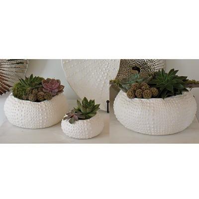 Ceramic Urchin Bowl - Matte White - Lg
