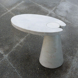 Cone Cantilever Table - White Marble