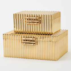 Corrugated Bamboo Box - Brass - Lg