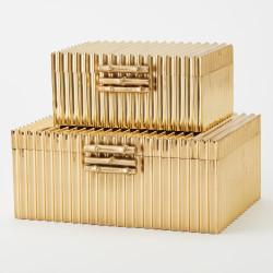Corrugated Bamboo Box - Brass - Sm