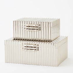 Corrugated Bamboo Box - Nickel - Sm