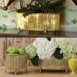 Corrugated Bamboo Cachepot - Brass - Lg