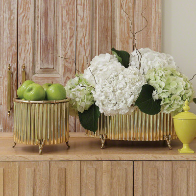 Corrugated Bamboo Cachepot - Brass - Med