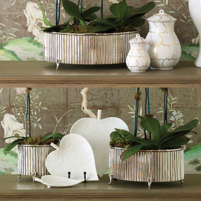 Corrugated Bamboo Cachepot - Nickel - Med