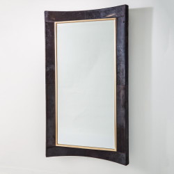 Curved Floor Mirror - Black Hair - On - Hide