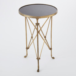 Directoire Table - Brass & Black Granite