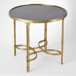 Double Bamboo Leg Table - Brass & Black Granite