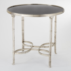 Double Bamboo Leg Table - Nickel & Black Granite