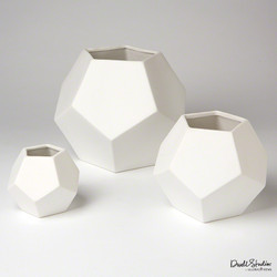 Faceted Vase - Matte White - Med