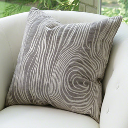 Faux Bois Pillow - Grey