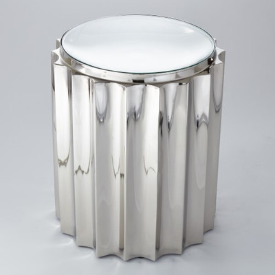 Fluted Column Table - Nickel