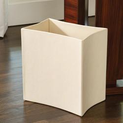 Folded Leather Waste Basket - Ivory
