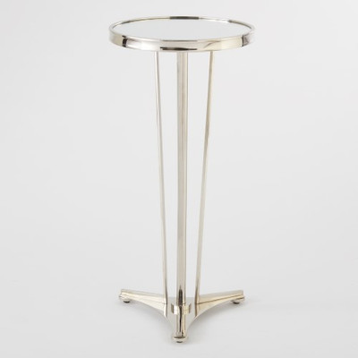 French Moderne Side Table - Nickel & Mirror
