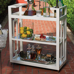 Grid Block Bar Cart - White