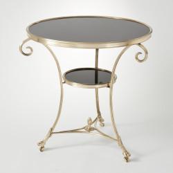 Gueridon Table - Brass & Black Granite