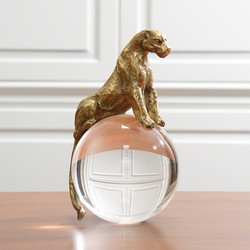 Jaguar on Crystal Ball - Brass