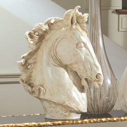 Lg Horse Head Sculpture - Marble Finish