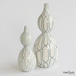 Linking Trellis Double Bulb Vase - Blue - Lg