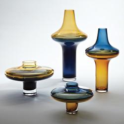 Low Cobalt Over Amber Vase - Sm