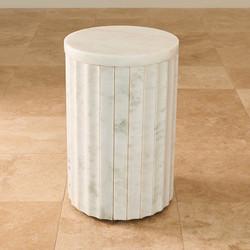 Marble Column Table - White