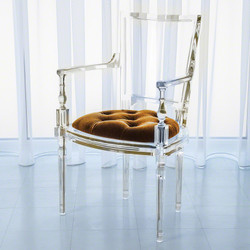 Marilyn Acrylic Arm Chair - Brown Sugar - Gold