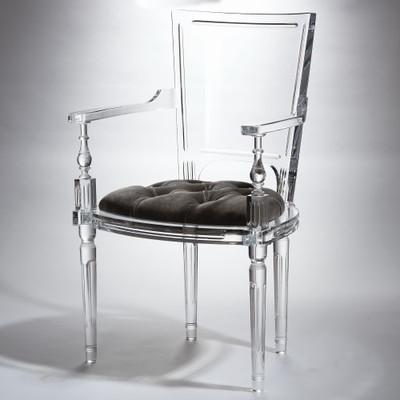 Marilyn Acrylic Arm Chair - Pewter - Grey