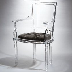 Marilyn Acrylic Arm Chair - Pewter - Grey