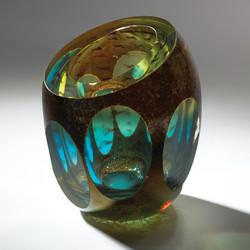 Molten Jewel Vase - Aqua