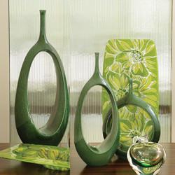 Open Oval Ring Vase - Emerald - Med