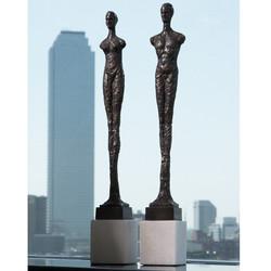 Pair of Contempo Statues - Black w/White Limestone